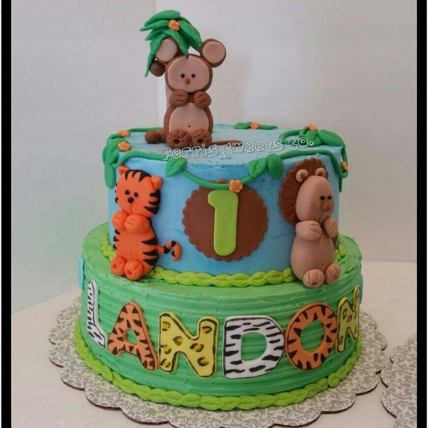 Jungle/safari Themed Birthday Cake, Buttercream With