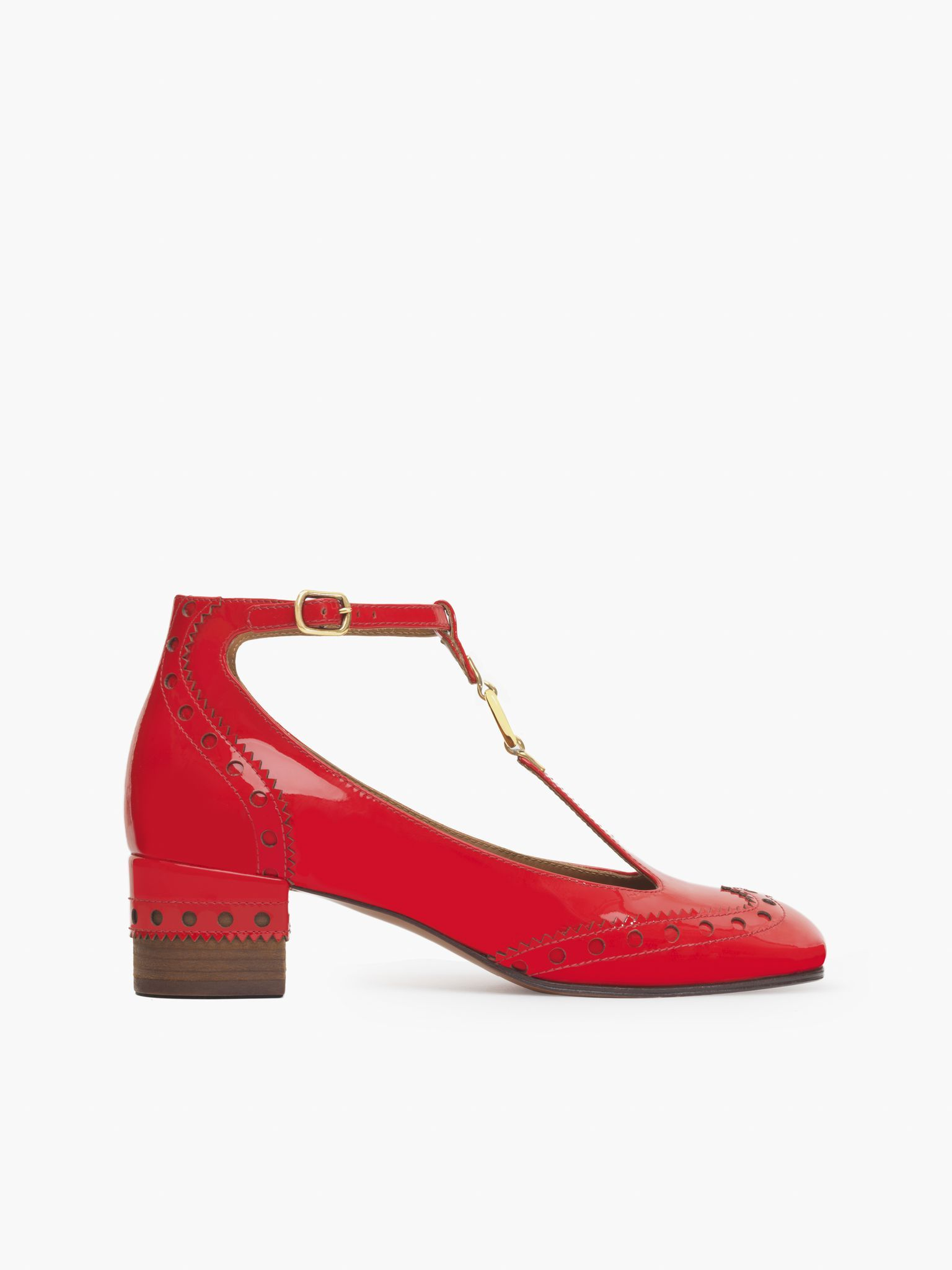 Chloé Perry T-bar Sandales Plates - Rouge O2HqKbiyPp