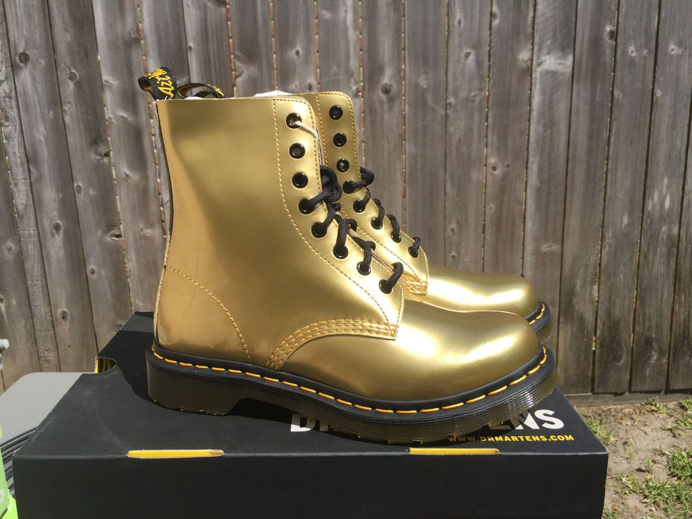 NIB DR MARTENS Pascal Women s Gold Spectra Patent Leather Boot US 8 UK 6   DrMartens  FashionAnkle 1f3c23b49