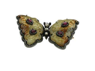 Jade, Ruby & 1.74 ct Diamond Butterfly-Shaped Brooch