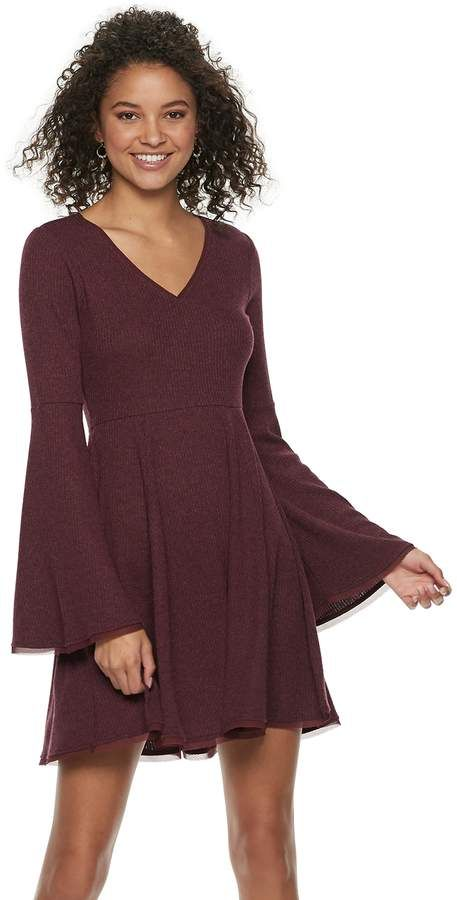 520fc07d63fe Juniors' American Rag Bell-Sleeve Fit & Flare Sweater Dress ...