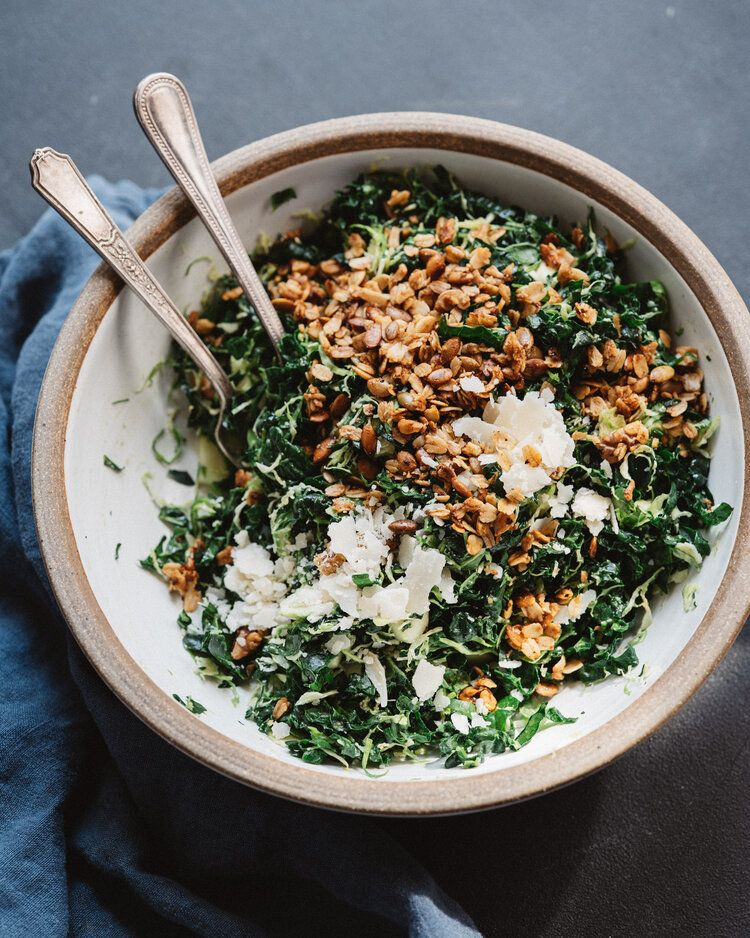 Kale And Brussels Slaw With Savory Granola Sk Cooking Club Savory Granola Sugar Free Salad Dressing Food Processor Recipes