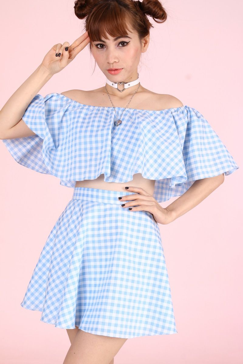 5d3a272eb26a6 Please note - this is made to order and will take 6 -7weeks to arrive  Adorable Off Shoulder Crop Top paired with half circle skirt Content - 100%  C..