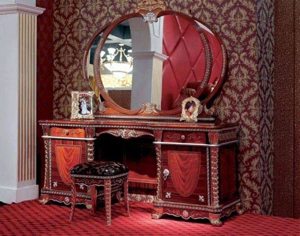 Luxury Wooden Dressing Table Design With Oval Shaped Mirror And ...