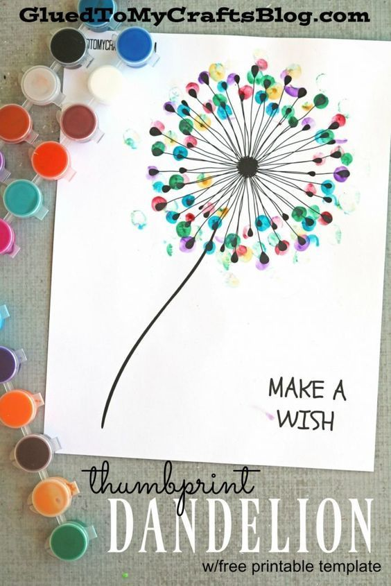 Thumbprint Dandelion Kid Craft W Free Printable Template