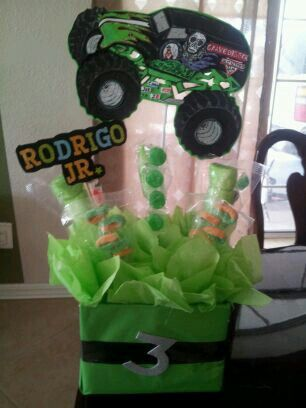 monster truck grave digger centerpieces jrs party Pinterest