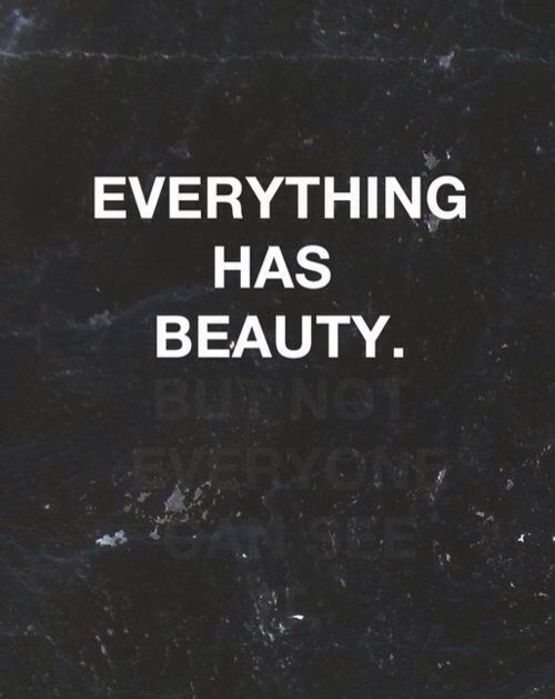 Everything has beauty. But not everyone can see