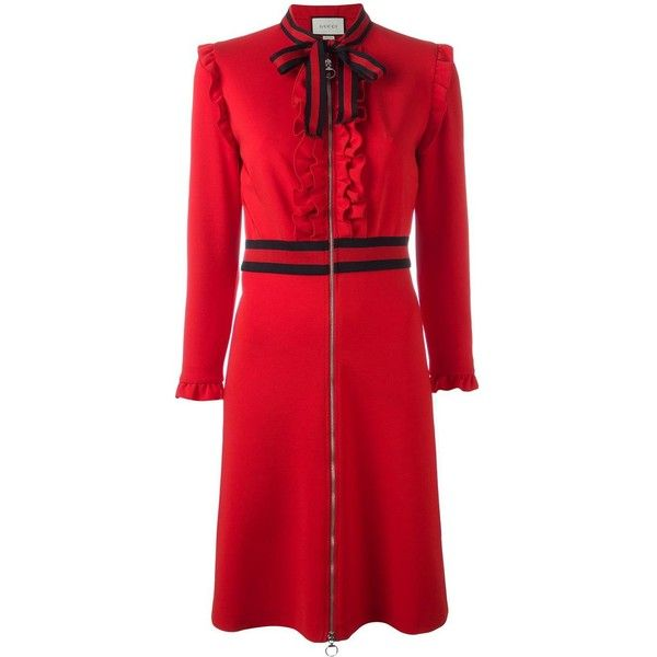 Gucci Web Bow Jersey Dress 1 980 Liked On Polyvore Featuring Dresses Red Ruffle 3 4 Sleeve Tail