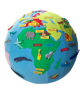 Inflatable Globe World Map. Super cute 3  inflatable globe with stick on animals ships names etc