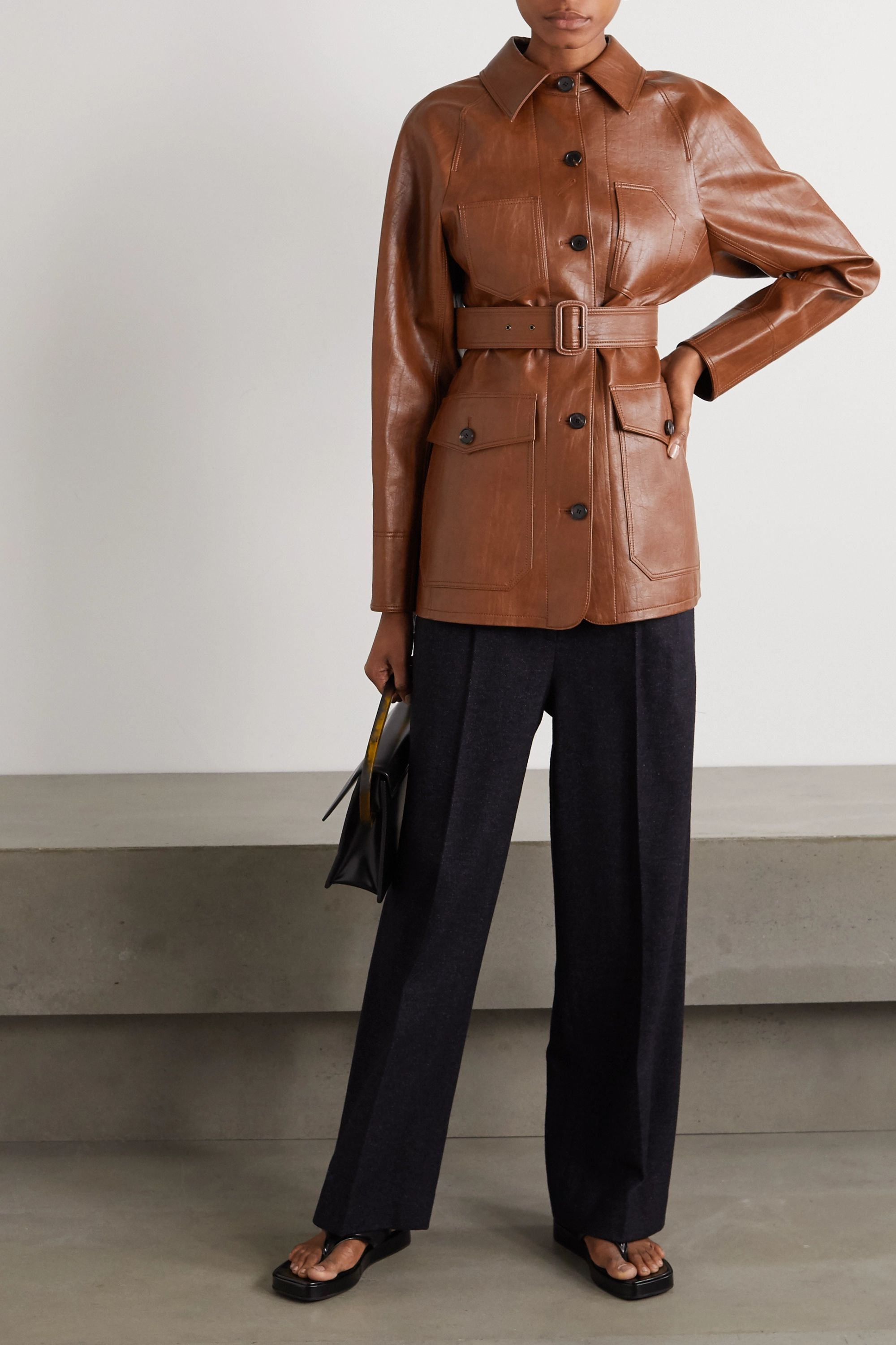 Brown Belted Faux Leather Jacket Lvir Leather Jacket Faux Leather Jackets Brown Leather Jacket [ jpg ]