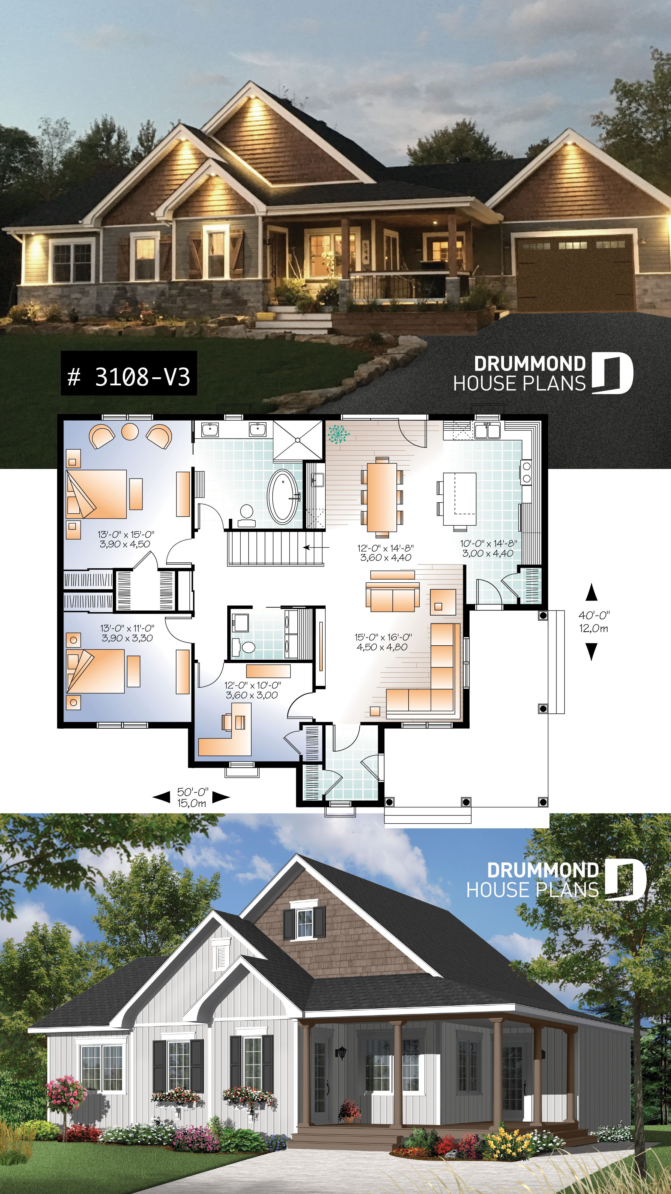 Discover The Plan 3108 V3 Galerno 4 Which Will Please You For Its 2 3 Bedrooms And For Its Country Styles Bungalow House Plans Sims House Plans Bungalow Floor Plans