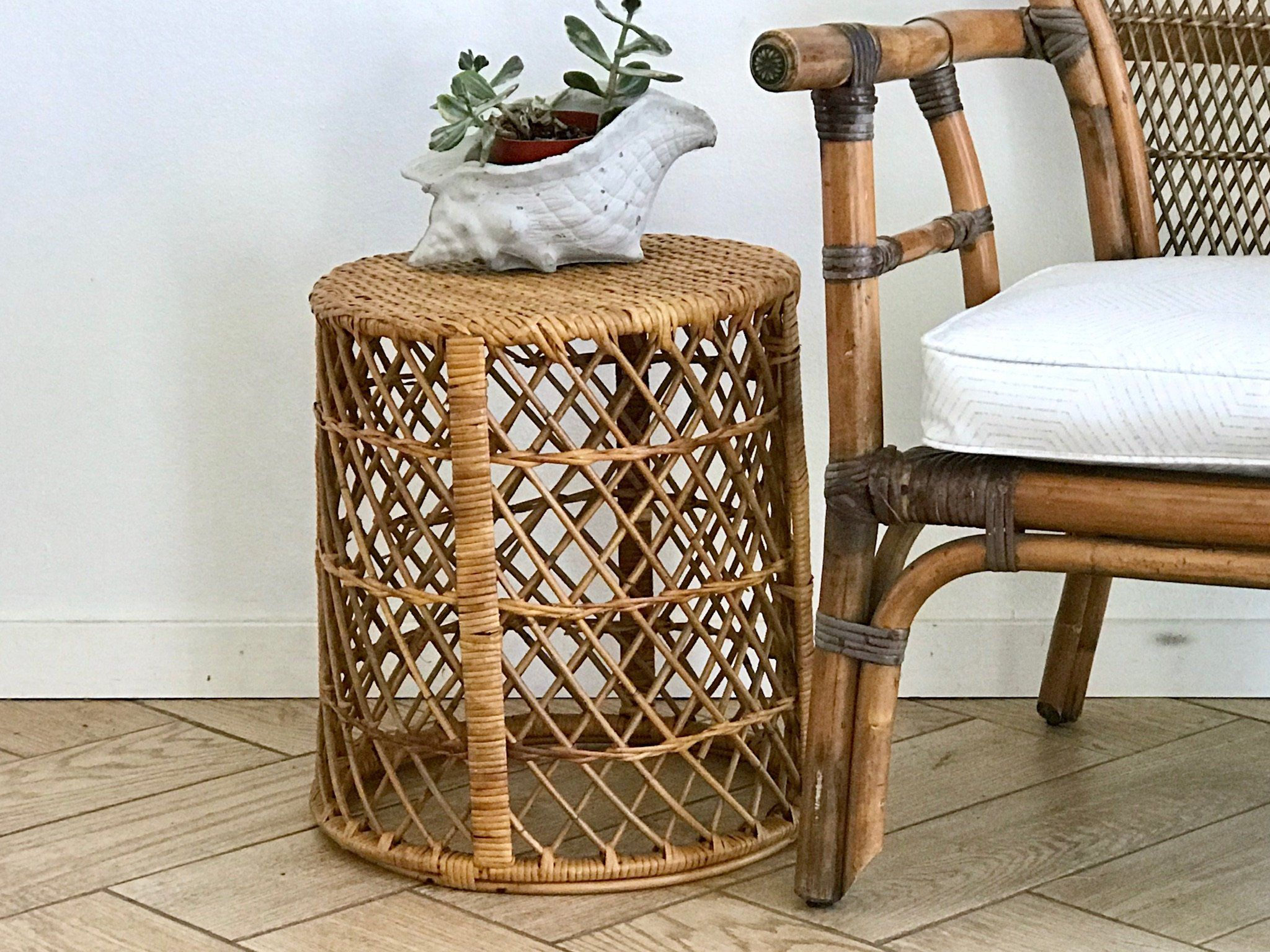 Bamboo Wicker Accent Table Round Woven Rattan Side Table Bamboo Plant Stand 70 S Wicker Plant Holder Bohemian Bambo Accent Table Vintage Wicker Table Rattan Side Table Accent Table