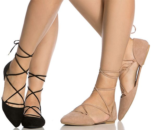 Qupid Faux Suede Pointy Lace-Up Flats in black and nude faux suede (Stuart  Weitzman Gilligan knockoffs)