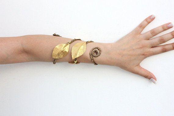 Gold Athena Forearm Woodland Cuff Bohemian Bracelet Fl Fairy Forest Elf