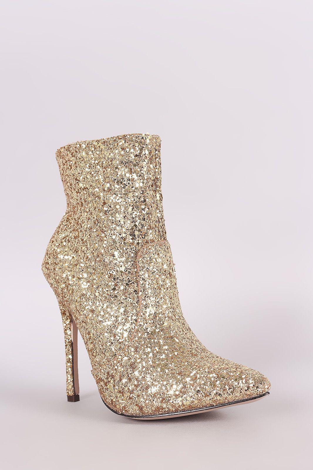 6d9cf94dada9 Glitter Pointy Toe Stiletto Booties | Women Shoes | Stiletto heels ...