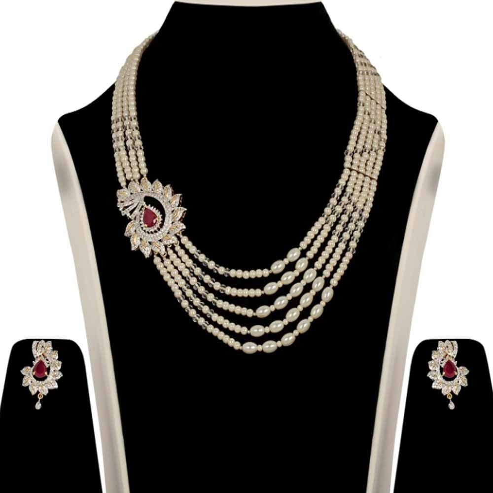 Chaahat stylish line pearl and maroon stone studded necklace set
