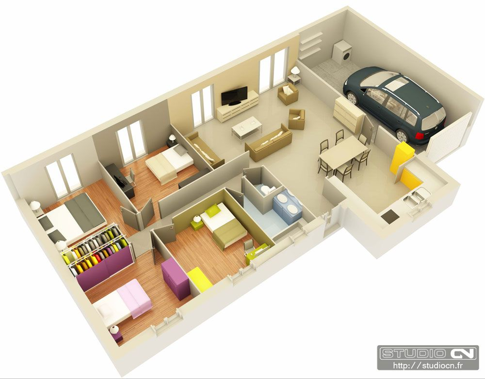 Résultat de recherche dimages pour plan maison 3d 3 chambres garage