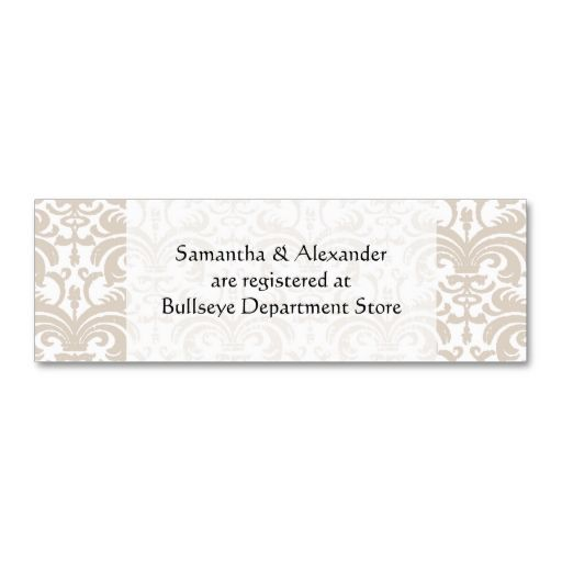 Make Your Own Wedding Gift: Personalized Wedding Gift Registry Cards Insert Business
