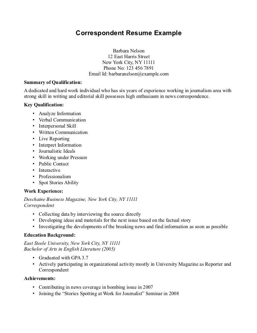 Executive Housekeeper Resume Correspondent Resume Example  Httpwww.resumecareer .