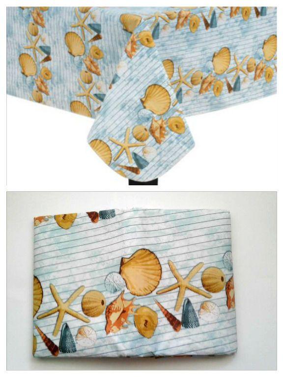 Seashells Nautical Beach Theme Blue 70 Round Vinyl Tablecloth