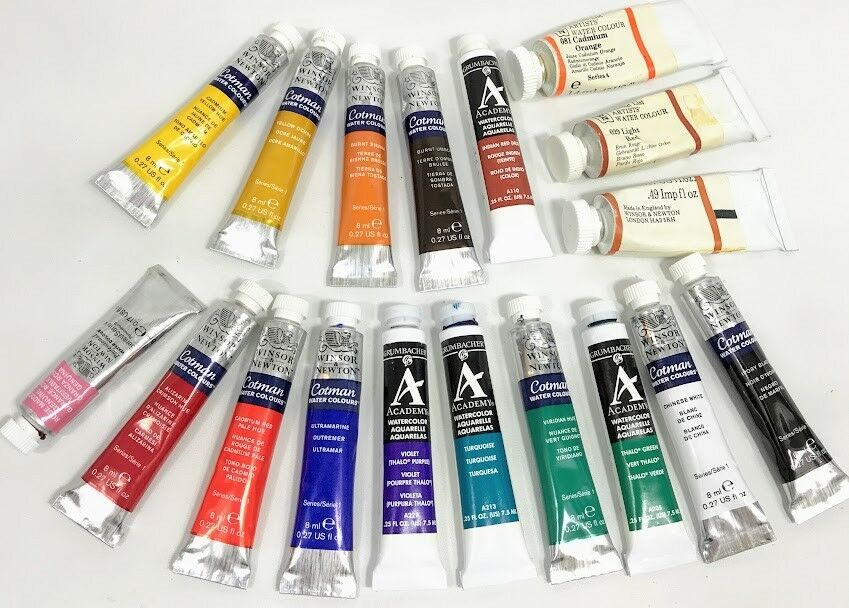 Winsor And Newton Grumbacher Academy Watercolor Paint Lot 18