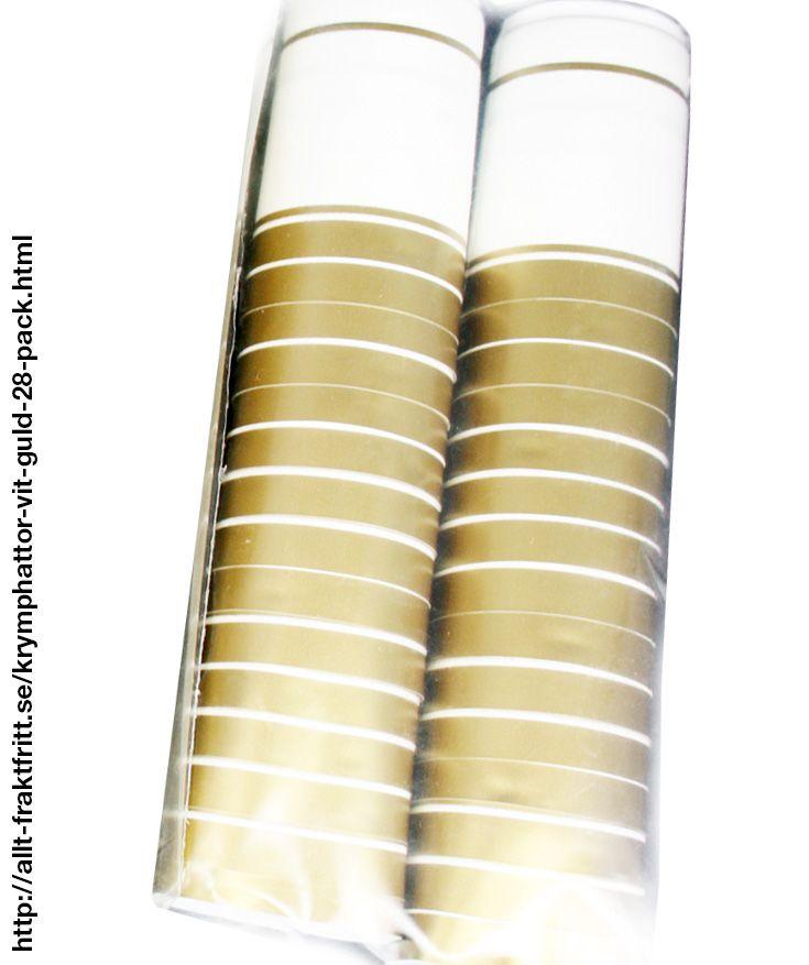 Krymphättor Vit/Guld 28-PACK - Vit/guld krympkapsyler - krymphättor - i plast, som man enkelt värmer på flaskan, skyddar korken mot uttorkning och ger ett professionellt utseende.   Krympkapsylerna drar ihop sig vid 90°C, t.ex. när man doppar dem i kokande vatten eller värmer med en varmluftspistol.