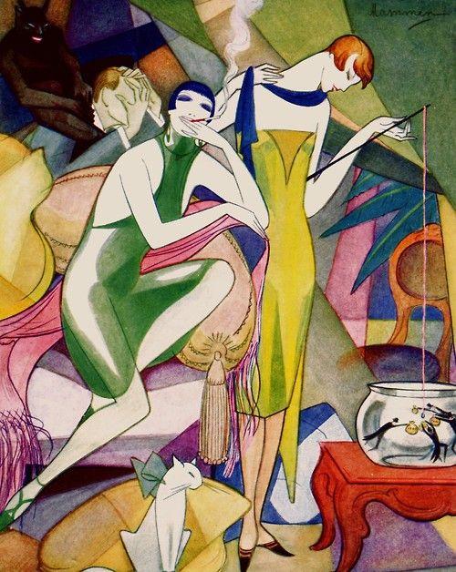 Jeanne Mammen ~ 1920's Art Deco art fashion illustration