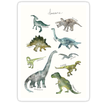 'Dinosaurs' Sticker by Amy Hamilton