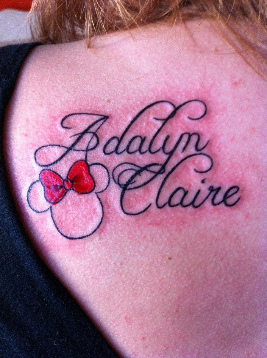My daughter 39 s name with minnie mouse butcha at darklight for Daughter name tattoo ideas