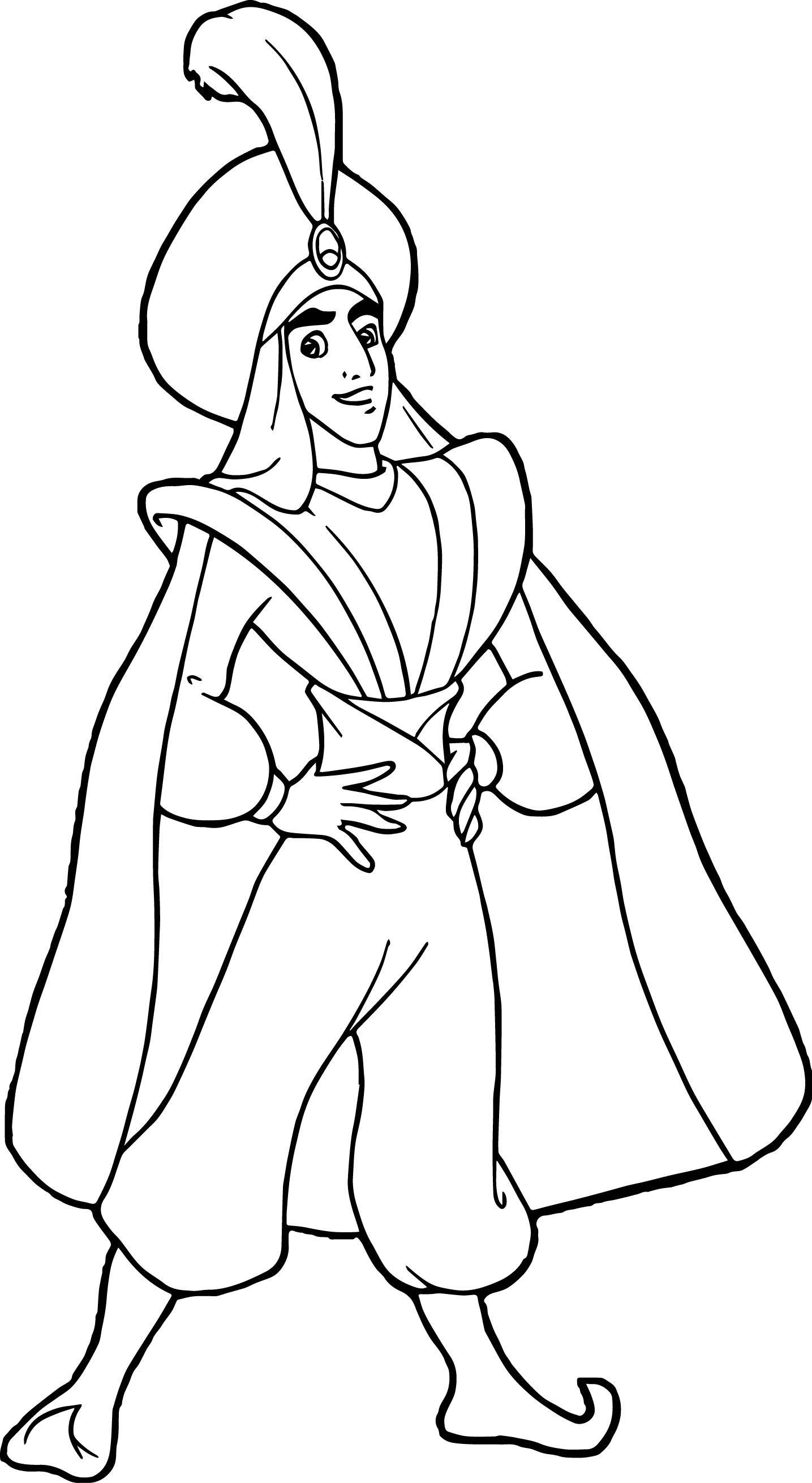 Cool Prince Ali Aladdin Coloring Page Cartoon Coloring Pages