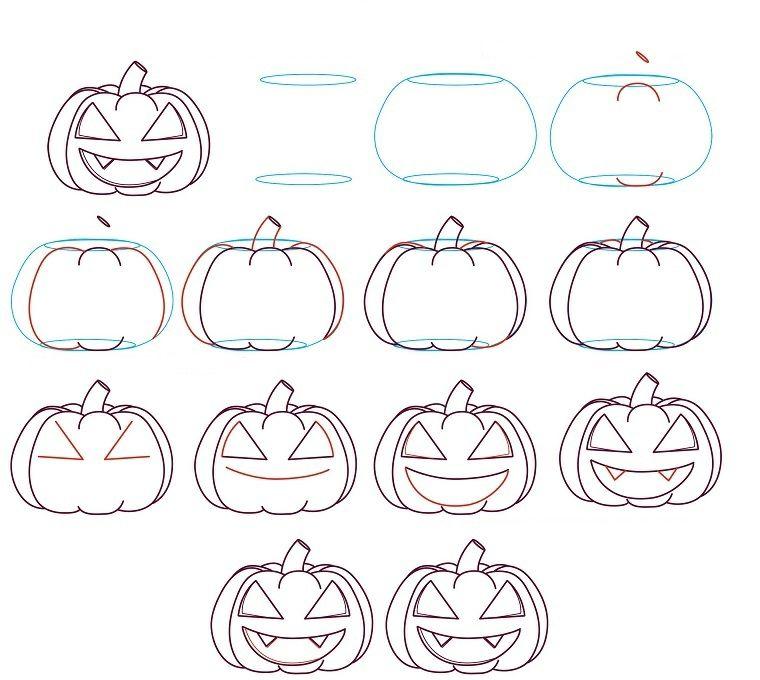 Zucca Di Halloween Disegno Con Tutorial Passo Per Passo In
