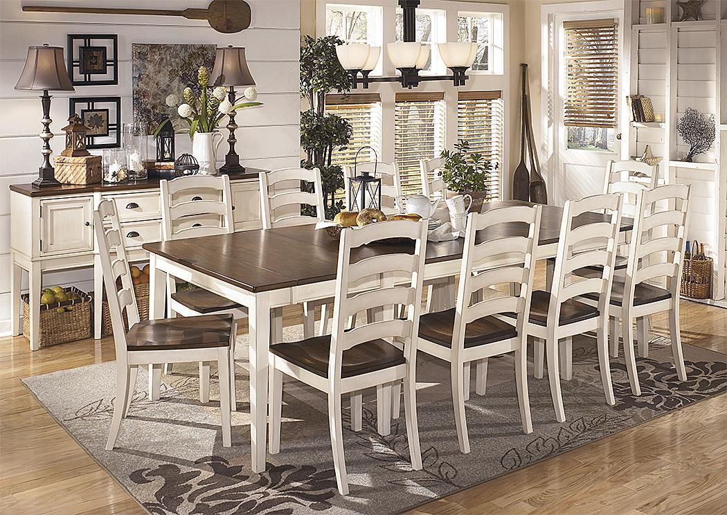 Value City Furniture | NJ | New Jersey | Staten Island Furniture Store  Whitesburg Extension Table And 10 Ladder Back Chairs White And Brown