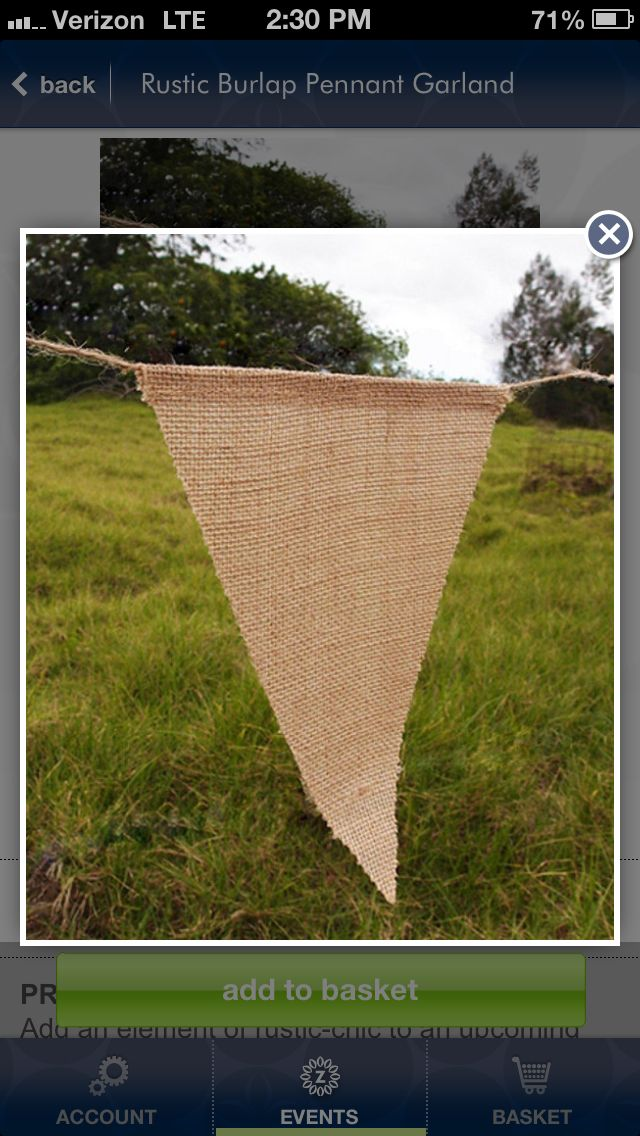 Burlap banner - cute for rustic party - add letters!