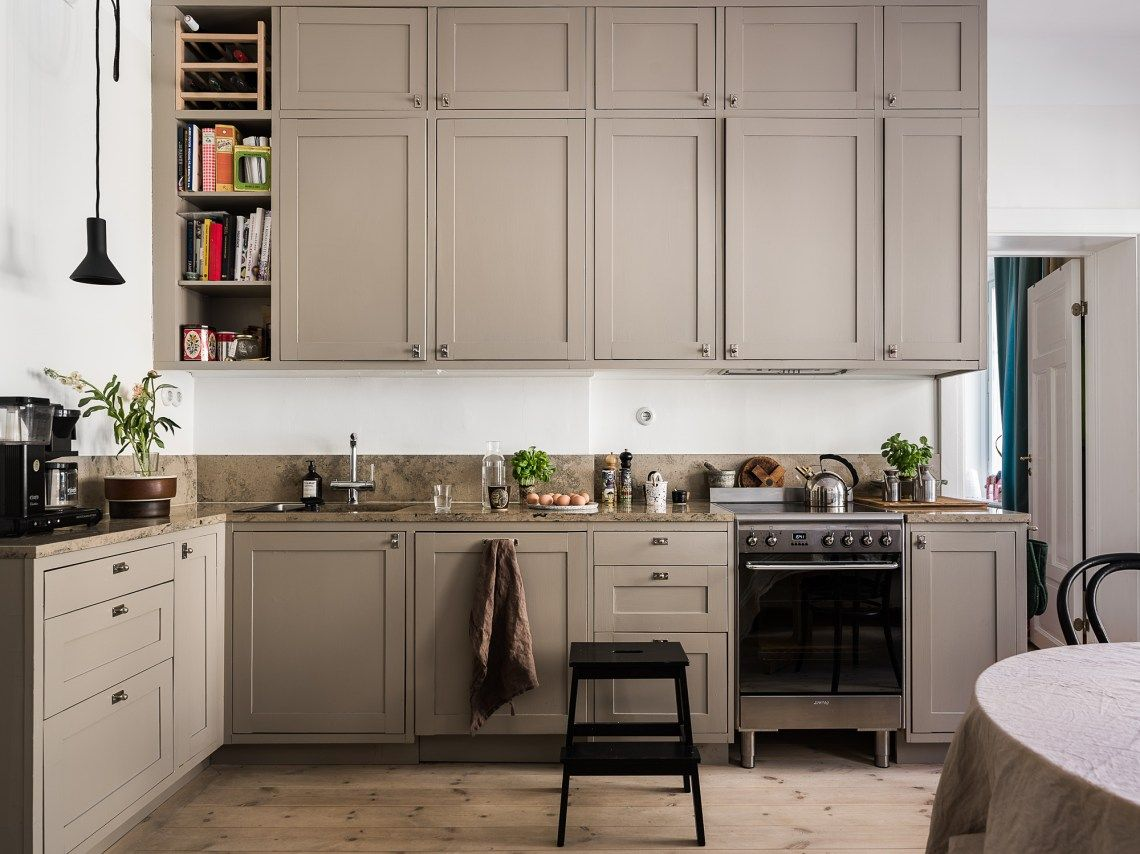 Beige Kitchen Coco Lapine Design Beige Kitchen Painted Kitchen Cabinets Colors Beautiful Kitchen Cabinets