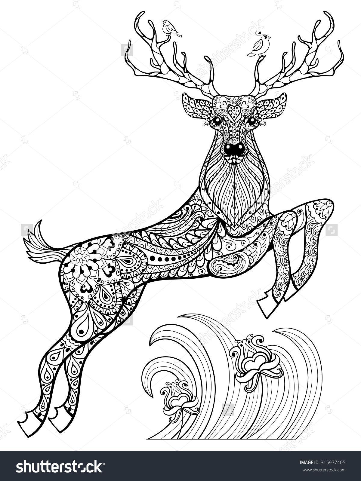 Deer Coloring Pages for Adults | ... deer-with-birds-in-the-grass ...