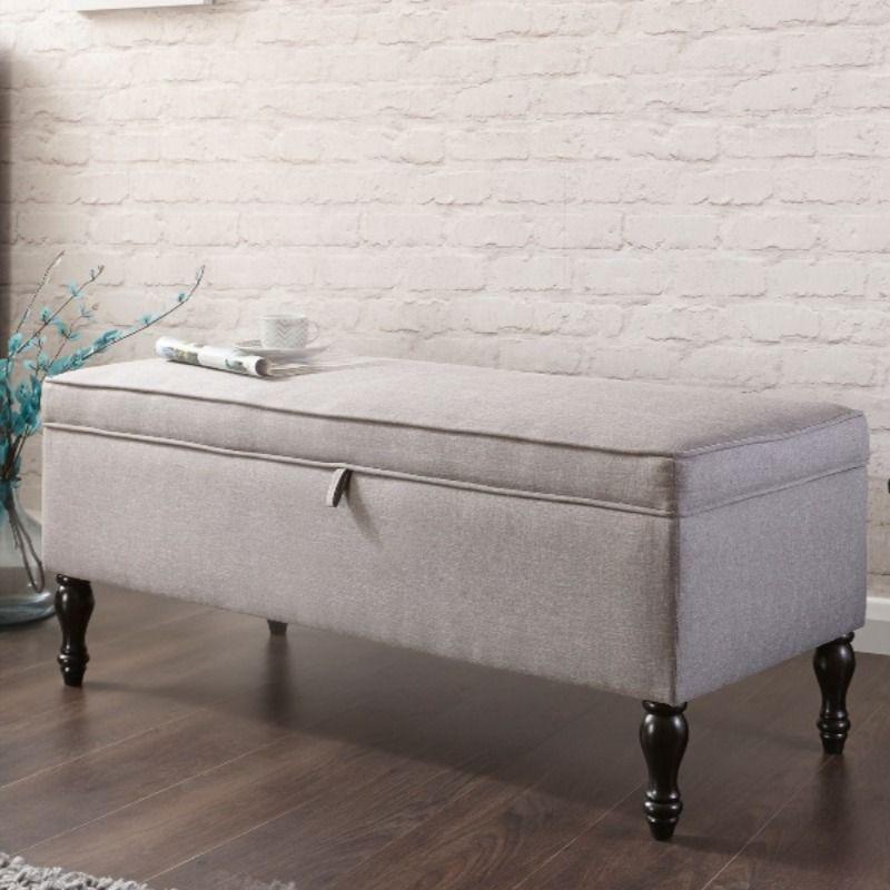 Windsor Cushioned Ottoman In Grey Storage Ottoman Storage Bench Bedroom Storage Bench
