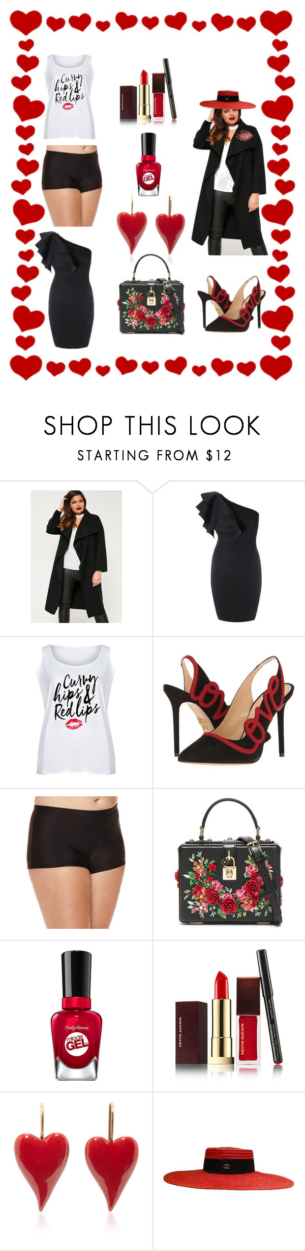 """Curvy Hips and Red Lips"" by dmdivagirl on Polyvore featuring Missguided, LC Trendz, Charlotte Olympia, Arizona, Dolce&Gabbana, Kevyn Aucoin, Gucci and plus size clothing"
