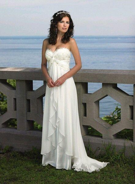 sexy soft chiffon beach wedding dress