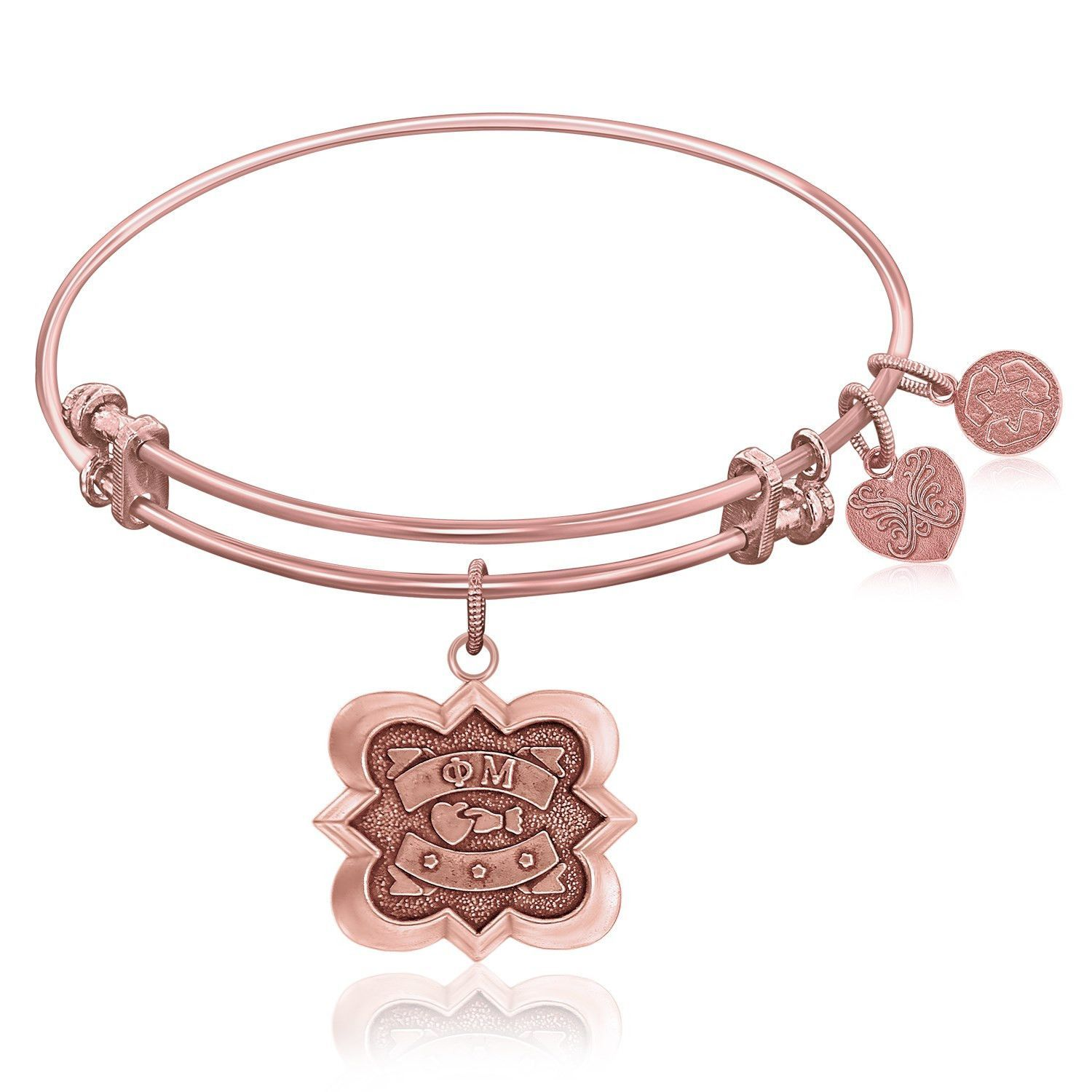 Expandable bangle in pink tone brass with phi mu symbol expandable bangle in pink tone brass with phi mu symbol biocorpaavc Images