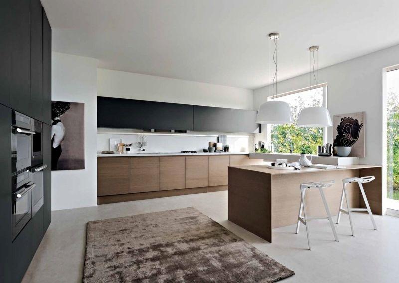 Aménagement Cuisine Blanche Noire Et Bois Idées Cool Saints - Amenagement cuisine rectangulaire