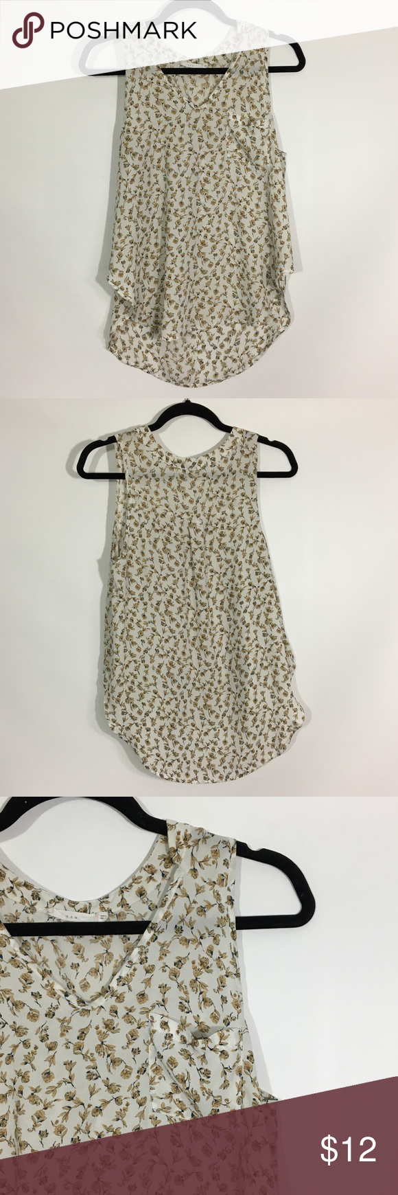 Floral tank top 🌟 Great condition 🌟  Lush floral tank top  Navy blue, brow... 19