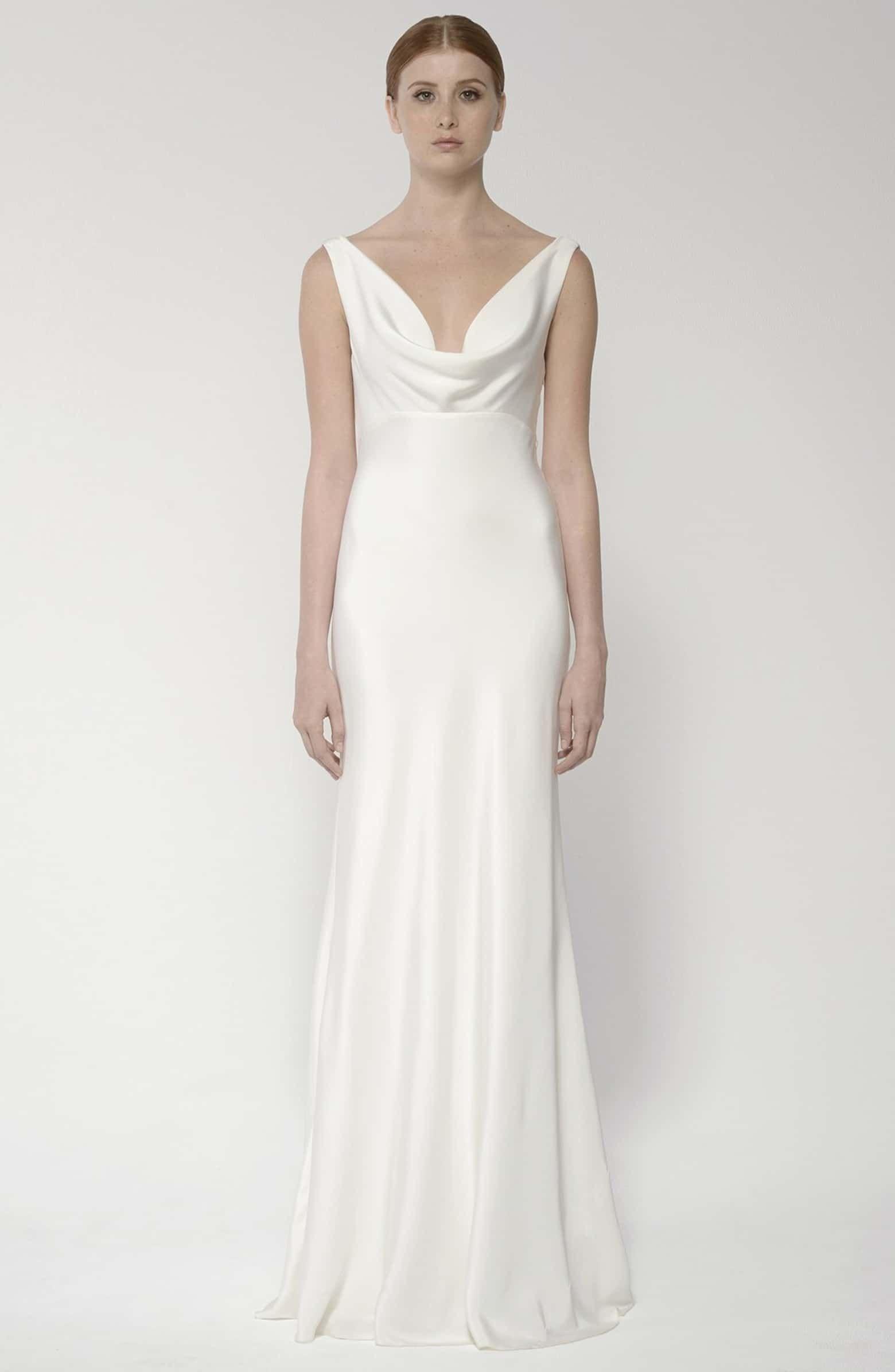 Draped Neck Silk Crepe Wedding Dress Alternate Color 900 Ivory