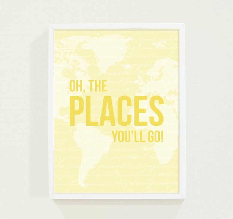 Yellow Nursery Wall Art Print - Oh, The Places You\'ll Go - Baby Girl ...