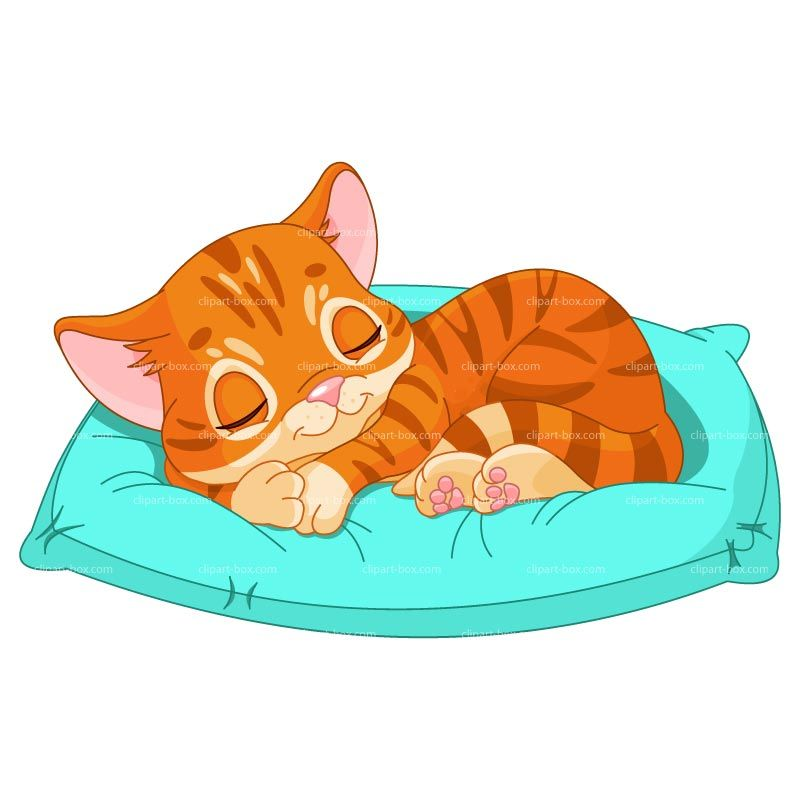 Cat sleeping in bed clipart