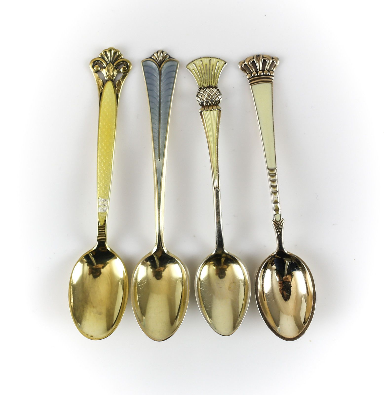 4pc. Assort Set Gilt Sterling Silver & Enamel Demitasse Spoons, c1940