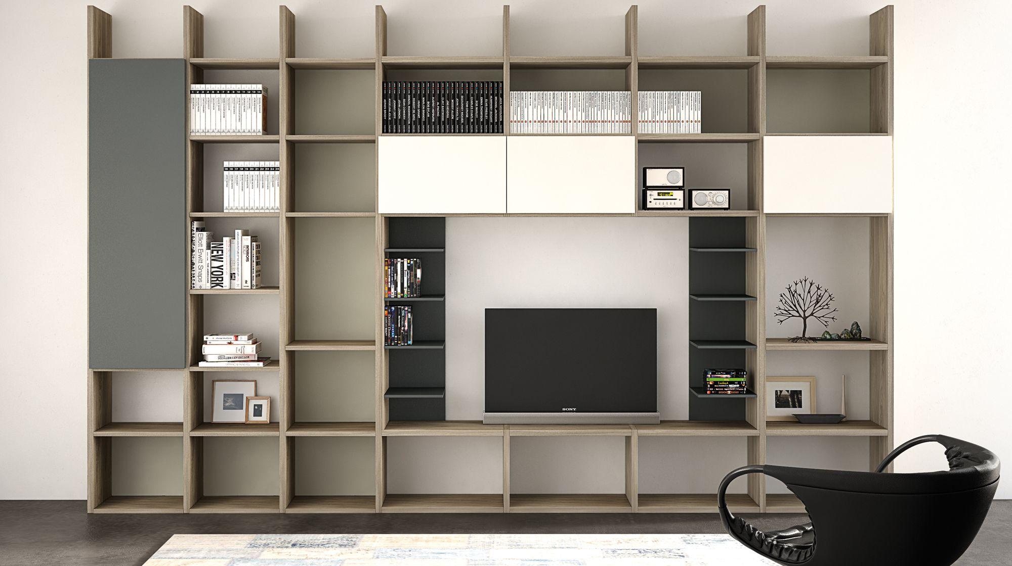 Spalla il mondo del living a spalla permette di comporre librerie contenitori o vani a giorno - Comporre cucina mondo convenienza ...
