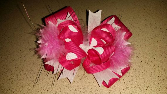 Check out this item in my Etsy shop https://www.etsy.com/listing/205370142/pink-and-white-stacked-boutique-bow-with