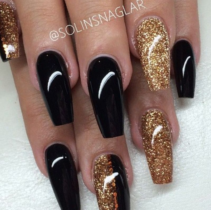 Image result for acrylic nails black and gold