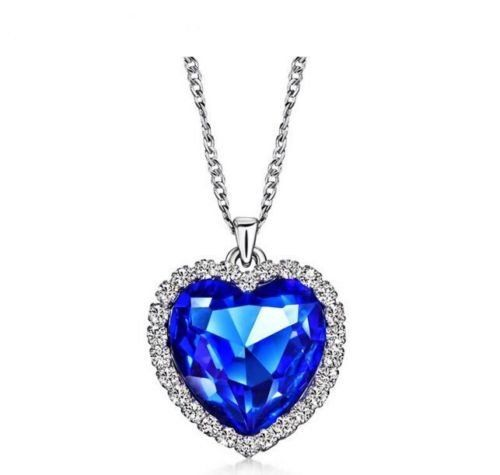 Titanic heart of the ocean sapphire blue cz crystal necklace pendant heart of the ocean cz sapphire titanic pendant necklace aloadofball Image collections