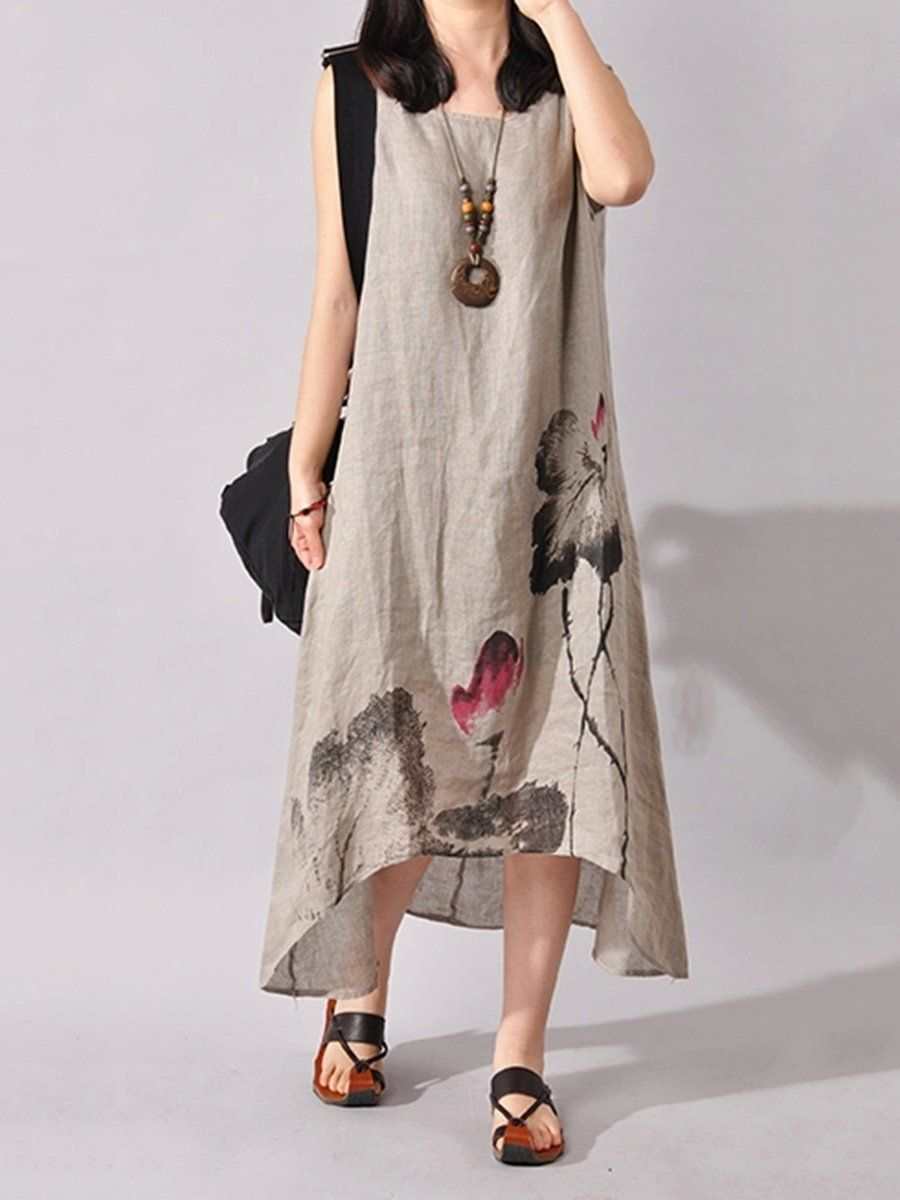 497a84dad8f60 Women Asymmetrical Daily Casual Sleeveless Floral-print Dress in ...